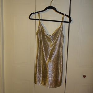 *TOPSHOP* Gold shimmer dress